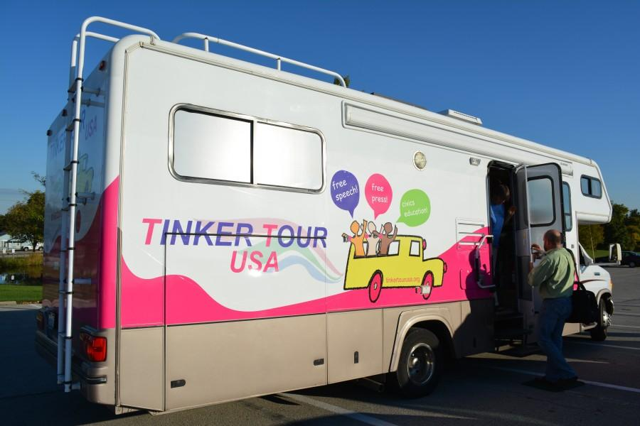 The+Tinker+Tour+USA+made+a+stop+at+IU+Southeast+on+Oct.+9.+Mary+Beth+Tinker+and+Mike+Hiestand+promoted+student+free+speech+during+a+presentation+held+at+the+Ogle+Center+as+a+Common+Experience+event.+