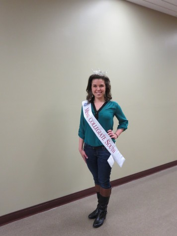 """Emily Kunkel, marketing freshman, is the new Miss Collegiate South. She will be competing for the Miss Indiana title June 15-21, in Zionsville, Ind. As part of her duties, Kunkel has joined with Suitcases for Sweethearts to help bring much needed supplies to foster children. """"I grew up with volunteerism in my life, since I was little,"""" Kunkel said. """"My parents have always encouraged it. They told me I had to give back to my community."""""""