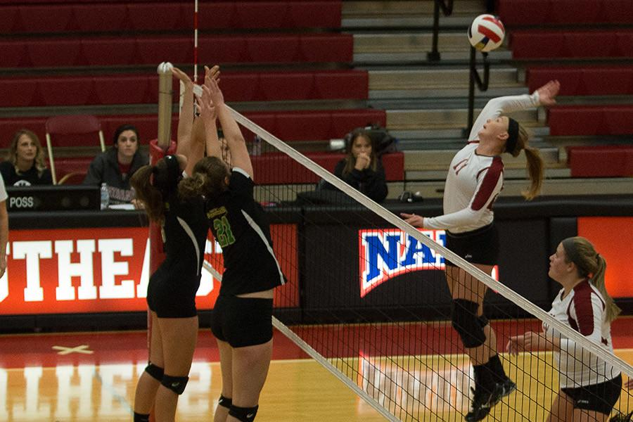 Monica+Loftus%2C+freshman+right+outside+hitter%2C+goes+up+to+spike+the+ball+against+Point+Park+on+Friday%2C+Sept.+18.+Loftus+had+seven+kills+as+the+Grenadiers+loss+in+four+sets.
