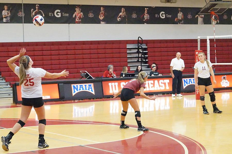 Hannah+Barker%2C+junior+setter%2C+serving+the+ball+against+Ohio+Christian+University+on+Thursday%2C+Oct.+8.+The+Grenadiers+won+the+match+in+straight+sets.+Barker+had+a+game-high+28+assists+in+the+win.