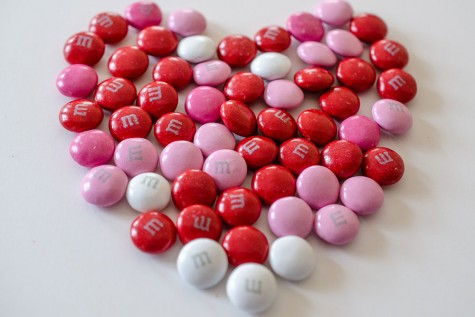 This file is licensed under the Creative Commons Attribution 2.0 Generic license. Valentine's day m&ms in the shape of a heart, by WikimediaCimmons user m01229