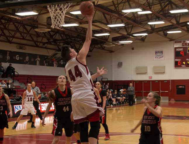 Junior+forward+Jocelyn+Mousty+lays+up+the+ball+early+in+the+game.+She+finished+with+18+points+and+12+rebounds.+