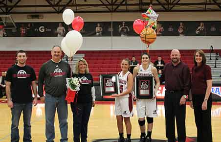 Seniors Mary Dye and Katie Slavey were honored on homecoming and senior night on Saturday, Feb. 24.