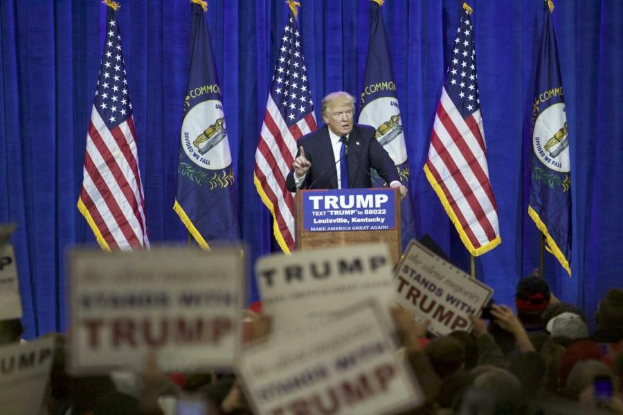 Donald+Trump+spoke+to+a+crowd+of+his+supporters+in+Louisville+on+Tuesday%2C+March+1.+