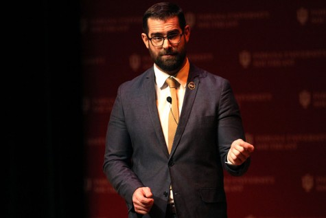 Diversity advocate Brian Sims speaks in Ogle Center