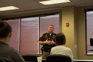 Clark County Sheriff Jamey Noel responds to a question from students regarding the A&E show 60 Days In.