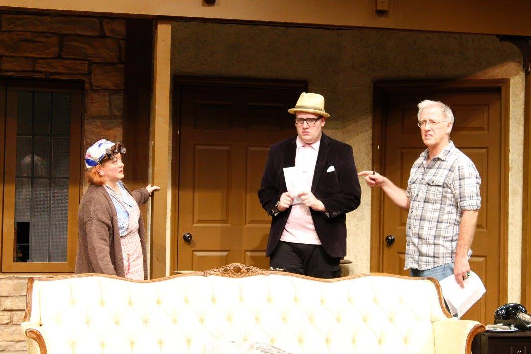 """Hesselman directs student Sean Turley and actress Kristy Calman in the fall 2015 production, """"Noises Off."""""""