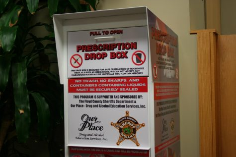 The prescription drug drop box at IU Southeast.