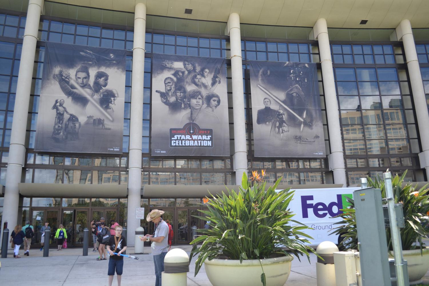 Banners hung outside the West Concourse of the Orange County Convention Center for Star Wars Celebration.