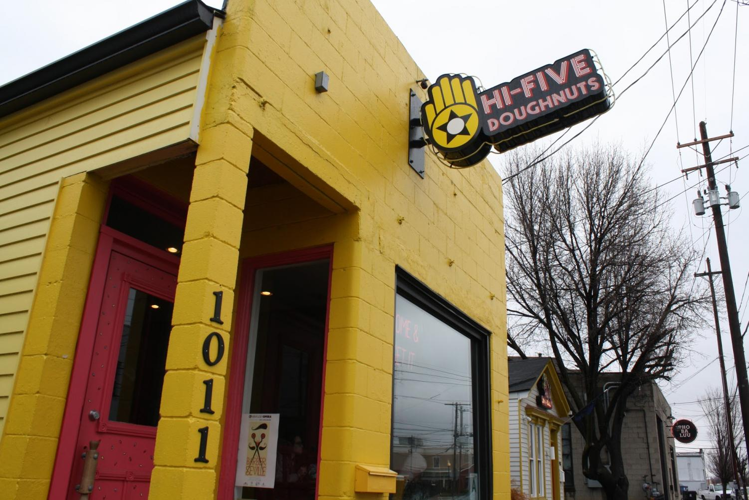Hi-Five Doughnuts is Louisville's first female owned and operated doughnut storefront. Located on 1011 East Main Street in Butchertown, the shop is an especially popular spot for locals with its bright colors and delicious treats.