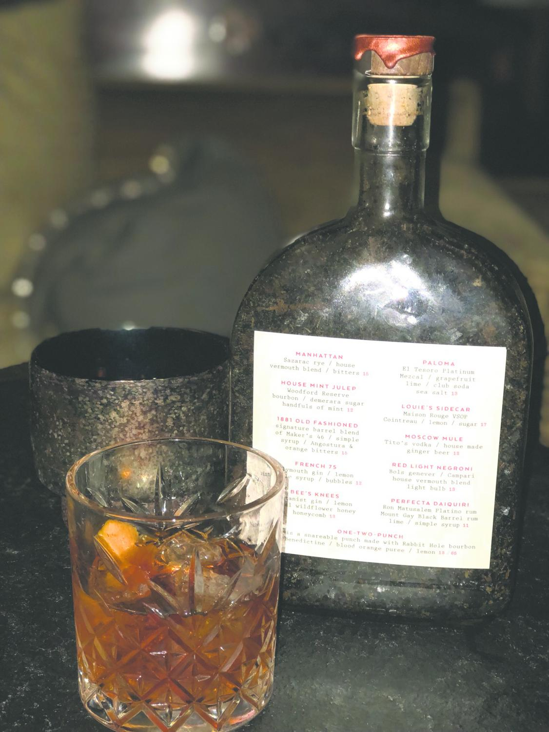 An old-fashioned served at Pin + Proof.