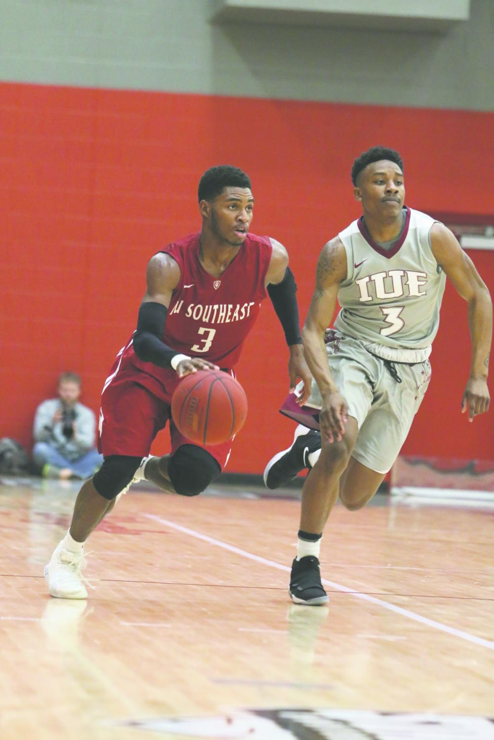 Senior shooting guard Jamie Johnson drives up the floor against IU East in last season's RSC Tournament Championship game. Johnson earned Second Team All-American honors after leading the Grenadiers with 19.9 points and 2.6 steals per game.