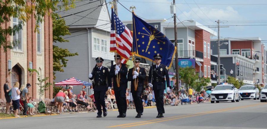 The+parade+was+escorted+by+the+New+Albany+Police+Department.