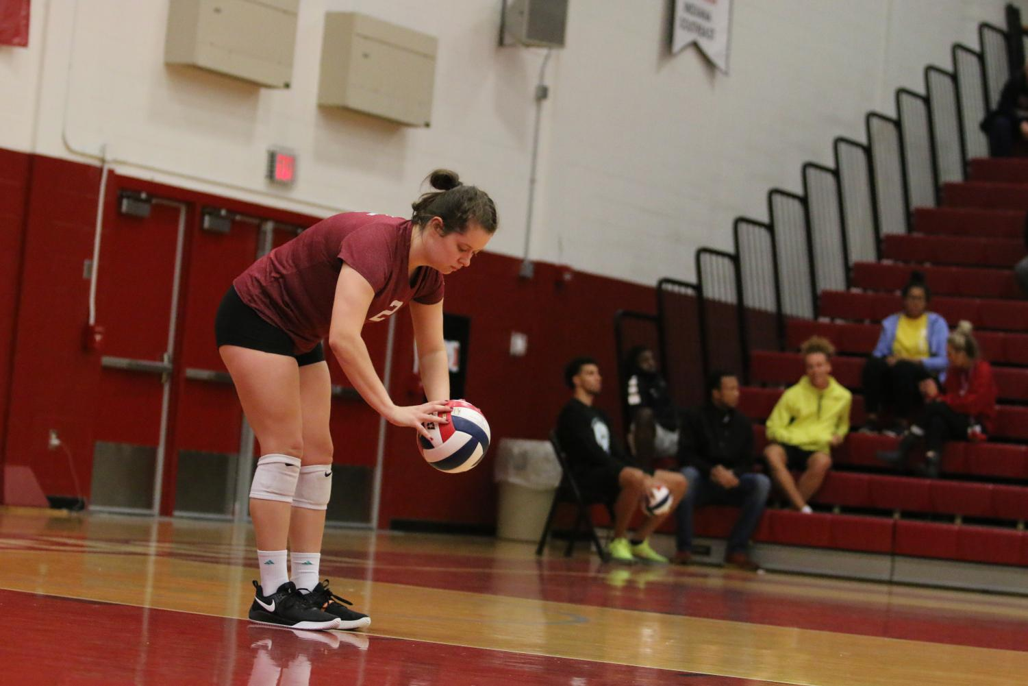 Sophomore setter Hannah Sipe prepares for a serve in the Grenadiers 3-0 loss to IU Kokomo on Tuesday, Sept. 25.