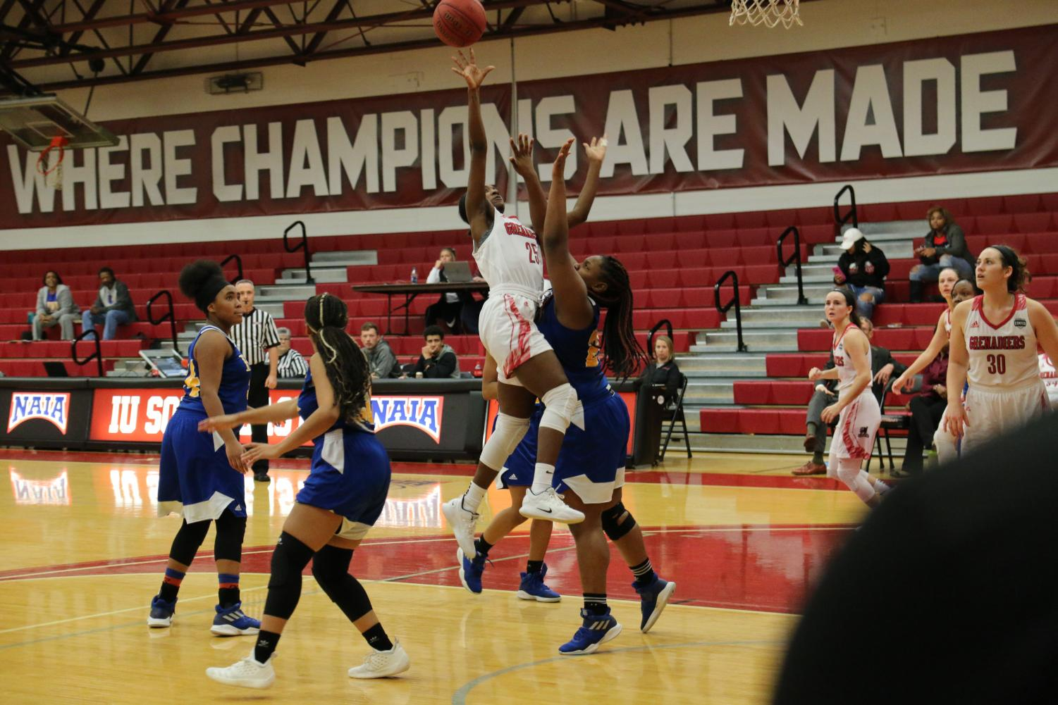 Junior guard Aaliyah Bell drives and rises up for a layup attempt in the women's 100-54 Homecoming win against Fisk University (Tenn.).