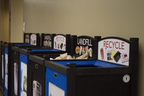 Recycling and landfill bins on campus.