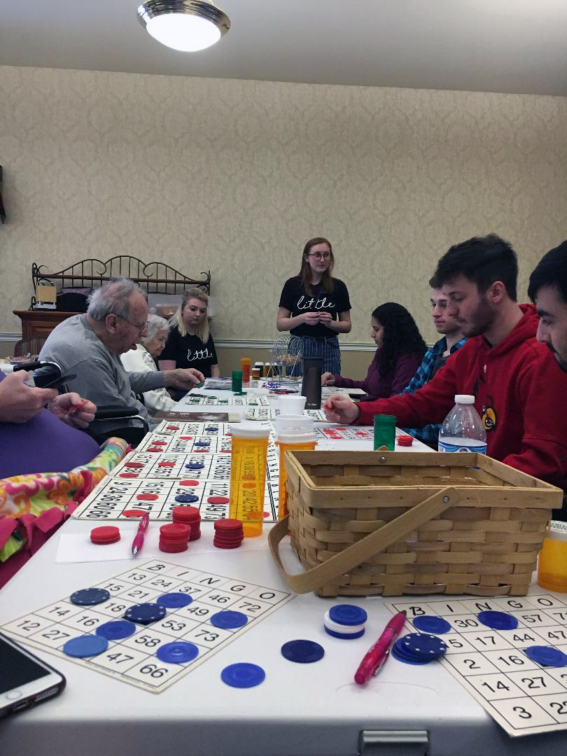 IUS+students+Hannah+Fults%2C+Cierra+Williams%2C+Elizabeth+Pritchard%2C+Leslie+Venzor%2C+Nick+Whitaker%2C+Jordan+Parker%2C+and+Caleb+Couch+played+bingo+with+residents.