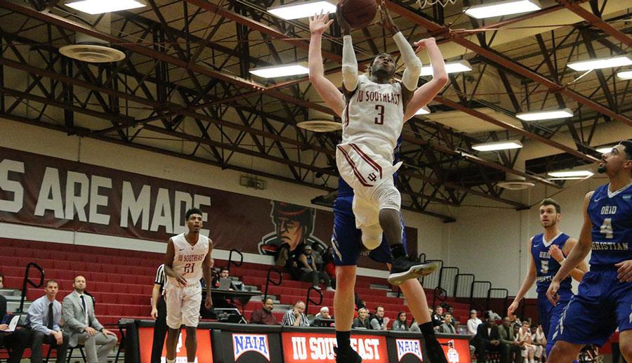 IUS senior Jamie Johnson takes it to the rim against Ohio Christian University.