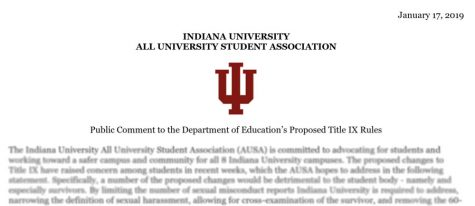 AUSA's official public to the Department of Education's proposed new Title IX rules.