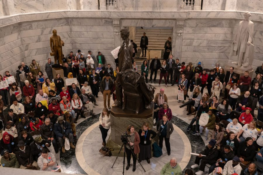 The center of the capitol building was filled with refugees and other supporters. This was the sixth annual refugee rally held in Kentucky's state capitol.
