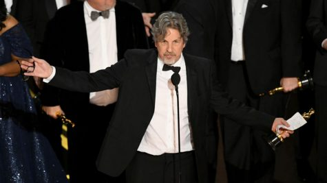 "Peter Farrelly accepts the Best Picture award for ""Green Book"" onstage during the 91st Annual Academy Awards. Used with permission."