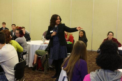 Mary Starvaggi speaks to students in the Hoosier Room during the etiquette workshop.
