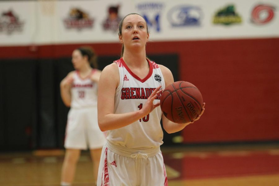 Hockman+lines+up+a+pair+of+free+throws+from+the+Grenadiers+game+against+Brescia+Univeristy.+Photo+by+Tamar+Kelly