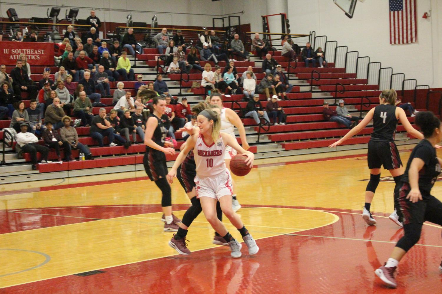 Senior Josie Hockman tries to get around her defender in the second half against IU East