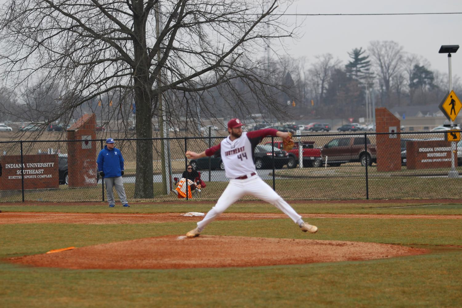 IUS right-hander Jack Wohlert fires a pitch for a strike in the first inning of last Thursday's game versus Midway. Photo by Brandon Miniard.