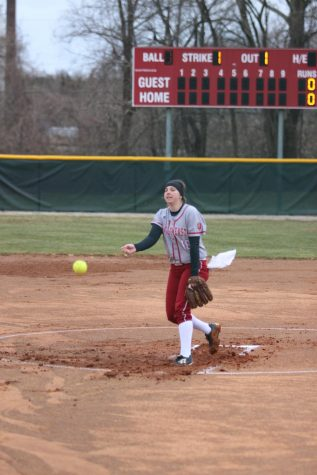 Pitcher Emily Weiss throws a pitch for a called strike in last Friday's doubleheader versus Carlow University.