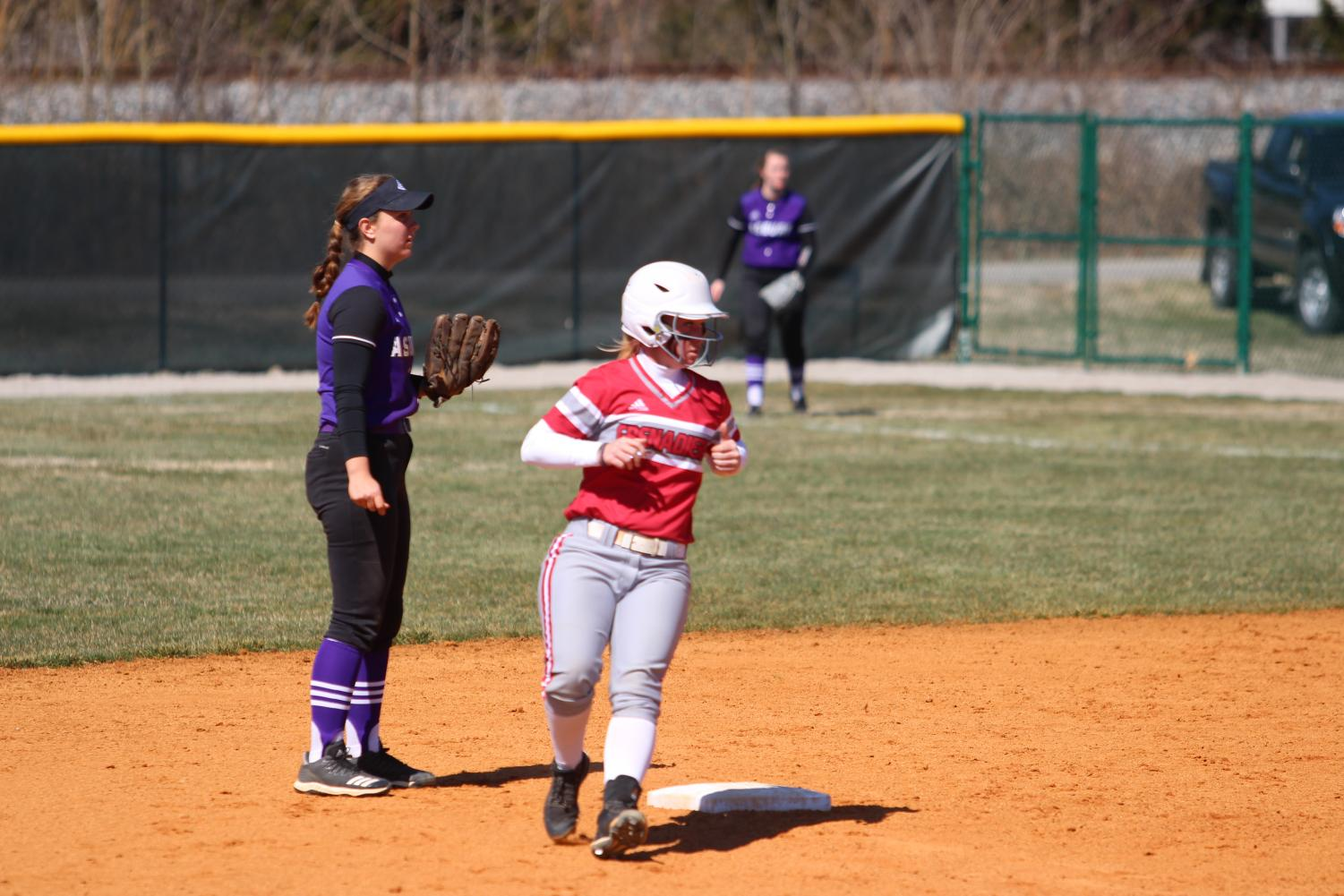 Catcher Justice Kline rounds second base after hitting an RBI double in game one of last Saturday's doubleheader versus Asbury University.