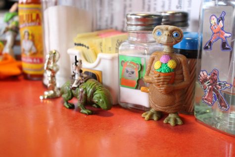 Outer space-themed action figures and stickers give some interstellar flavor to the tables found inside Lady Tron's. Owner Summer Sieg named the diner after a nickname given to her years ago.
