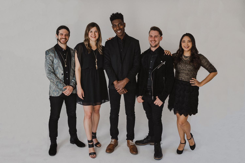 Members of the a capella group Backtrack (left to right): Johnny Buffalo (beatbox), Mallory Moser (soprano), Jojo Otseidu (bass), Mike Hinkle (tenor), Melissa Jordano (alto)