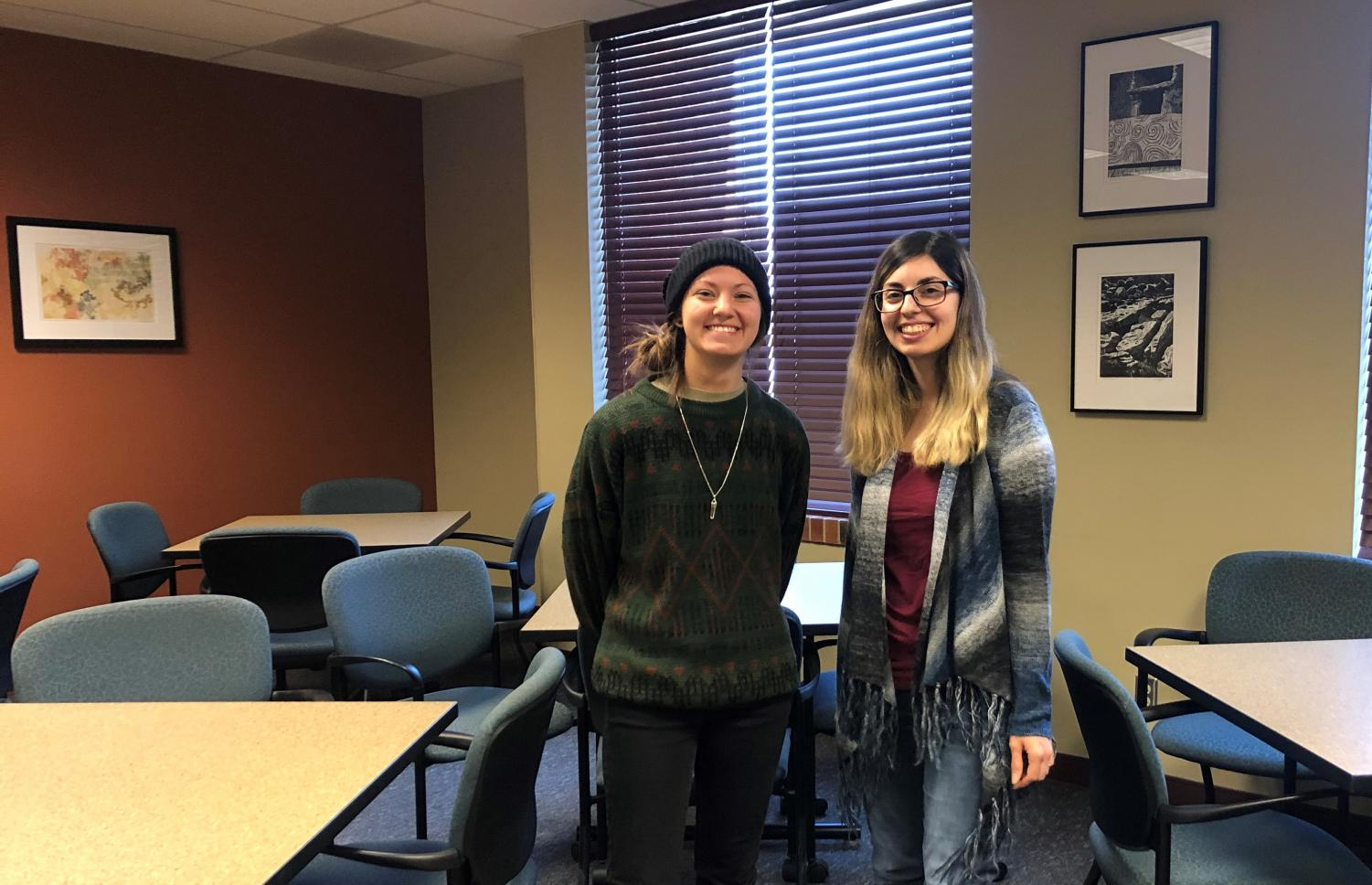 GREENadiers President Sidney Farmer (left) and Vice President Lucia Rodriguez at the club's first meeting on Wednesday, Jan. 22.
