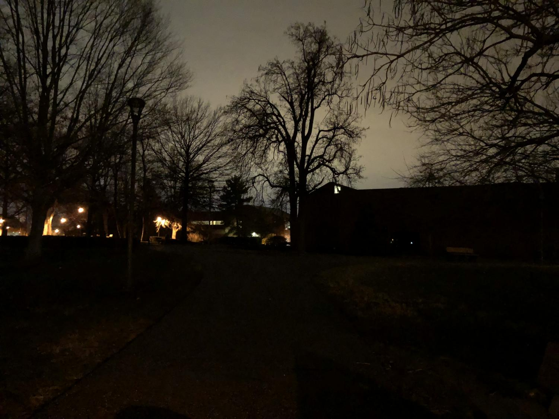 The walking paths behind Crestview remain unlit.