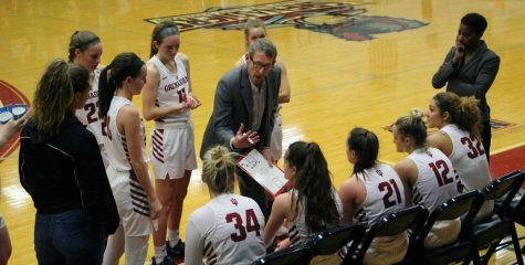 Head Coach Robin Farris tries to rally his troops during the third quarter of the Grenadiers' 70-51 loss against IU Kokomo on Feb. 18.