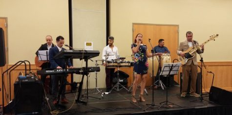 The Spanish language band A-Corde performs during the Latinx Leadership Conference lunch break in the Hoosier room.