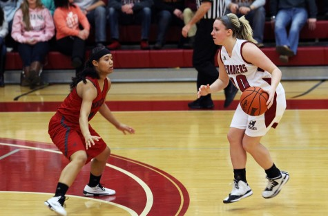 Senior guard, Heather Wheat, faces down a Cougars defender in the Grenadiers 55-51 win over IU Kokomo.