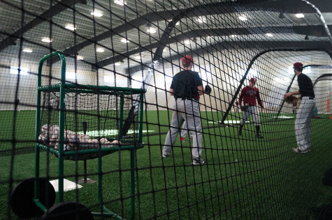 he new facility has batting cages, a bullpen and is carpeted with sports turf.
