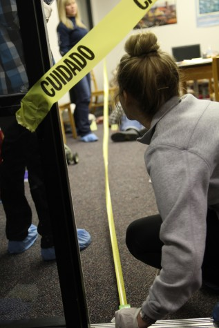 Students learn from mock crime scene in Crestview Hall