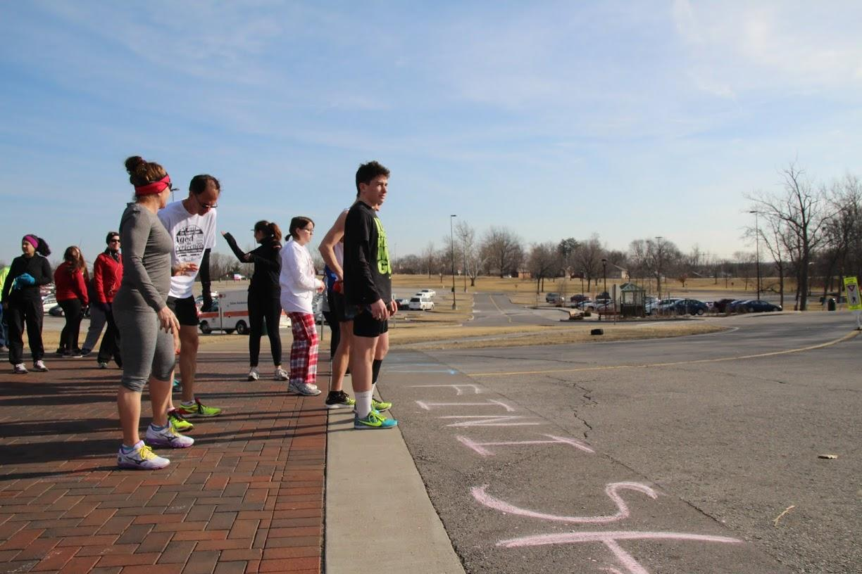 Racers line up to begin the race.