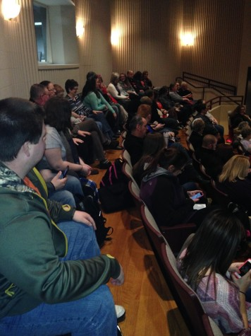 The audience waits for Forgiving Dr. Mengele to start. The documentary showing was part of the 2014-2015 IU Southeast Common Experience
