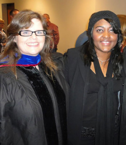 IUS alumna Victoria Bennett with faculty mentor Jean Abshire.