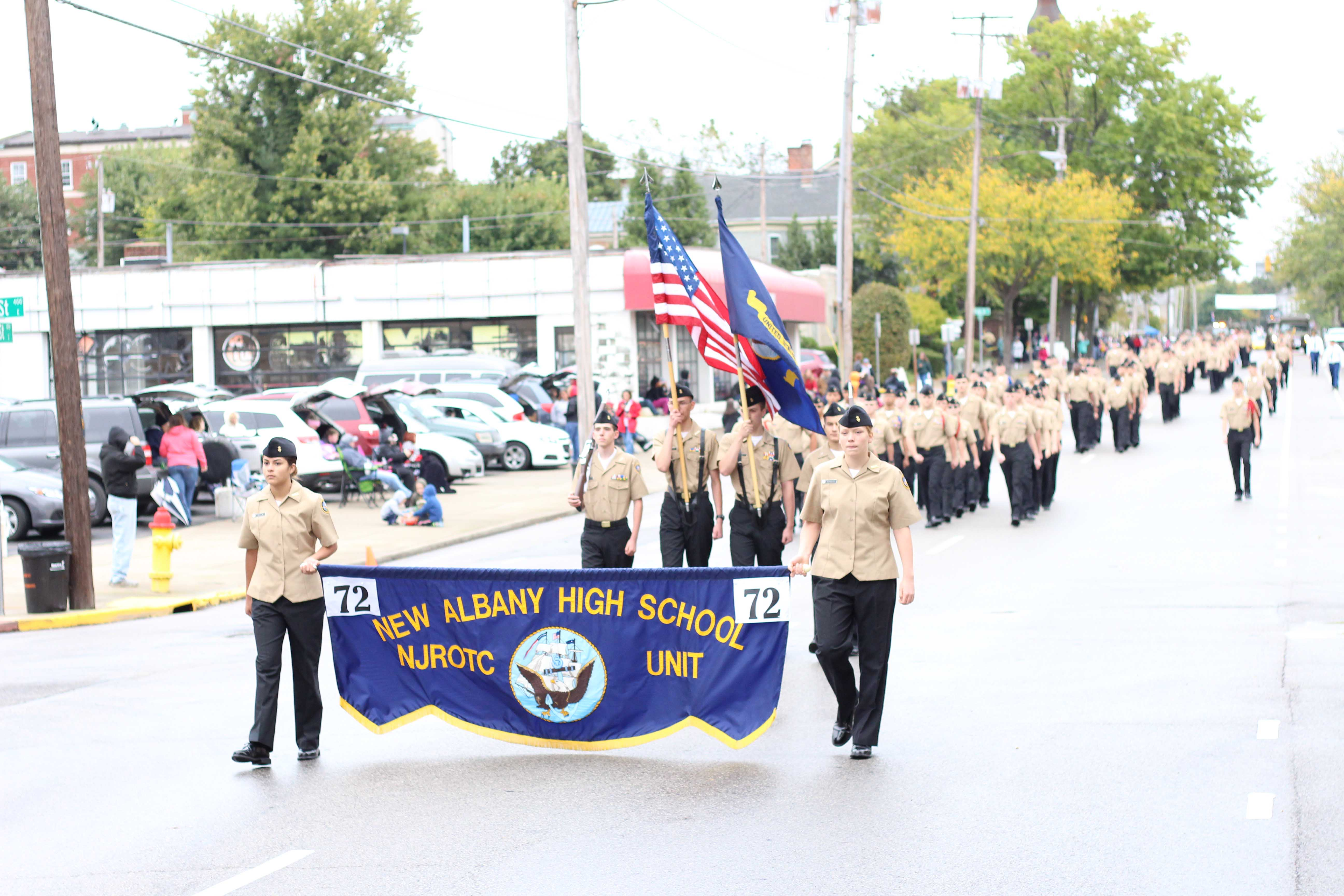 The+New+Albany+High+School%E2%80%99s+NJROTC+program+followed+the+program+at+Floyd+Central.+According+to+Master+Gunnery+Sergeant+Ackerman%2C+this+year%27s+NJROTC+class+has+about+100+students+participating+in+the+parade.+%0A