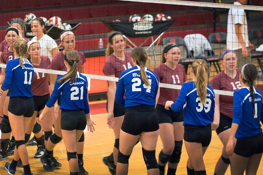 IU Southeast and Brescia University players shake each other's hands after Thursday's game on Oct. 1. The Grenadiers beat the Bearcats in straight sets.