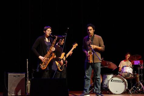 Zoe Blackwell, music senior, Matt Restrepo, music sophomore, and Michael Sauffer, music junior, perform during Fallstock.