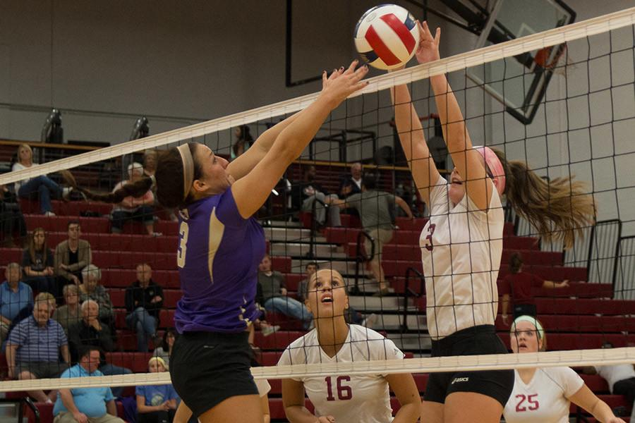 Maddie+Jacobi%2C+freshman+defensive+specialist%2C+goes+up+for+a+block+against+a+Cincinnati+Christian+player+in+the+Grenadiers+regular+season+game+on+Thursday%2C+Nov.+5.++Jacobi+tied+for+a+team-high+11+kills+in+the+loss.
