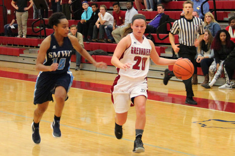 Annie Thomas, sophomore guard, dribbles the ball down the court against St. Mary-of-the-Woods in the Grenadier's home opener on Thursday, Nov. 12. Thomas transferred to IU Southeast this year from Henderson State University. She had a team-high 19 points and five assists in the win.