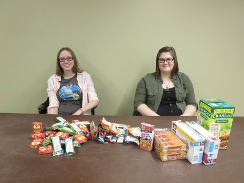 Aimee Kelmel, sociology senior, and Aubrey Garman, psychology and sociology senior, collect individually wrapped snacks Thursday, Jan. 14 in The Commons for the Sociology Club. The snacks will be added to care packages that will be distributed to the homeless during the Point in Time count on Wednesday, Jan. 27.