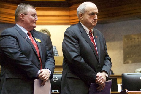 IUS Chancellor Ray Wallace and IU President Michael McRobbie wait to speak before the House of Representatives.